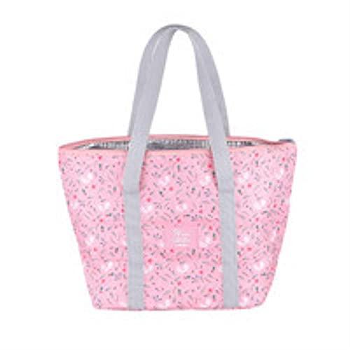 Bolsa de almuerzo con aislamiento térmico con estampado floral para mujeres y niñas, bolsa de transporte portátil para llevar, caja de almuerzo con aislamiento, color rosa
