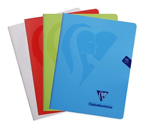 Clairefontaine 303740C - Un album piqué Mimesys 96 pages 17x22 cm 90g unies blanches, couverture polypro (plastique), couleur aléatoire