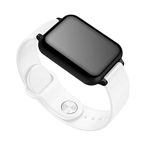 PLUIEX Reloj Inteligente Reloj Inteligente IP67 Impermeable Deportes Monitor de frecuencia cardíaca Reloj Inteligente de presión Arterial para Mujeres Hombres niños Android iOS iPhone, Blanco