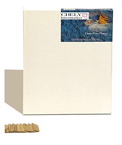 Chely Intermarket, lienzo para pintar 50x70 cm Perfil 16mm pre-estirados 380grs/Apto para Óleo, acrílico y técnica mixta/Pre-Estirado 100% Algodón/Color Blanco/Triple Preparado(560-50x70-0,75)