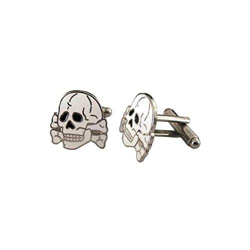 WW2 German Style 'Totenkopf Skull'weiß Manschettenknöpfe, Emaille, Inkl. Geschenkbox