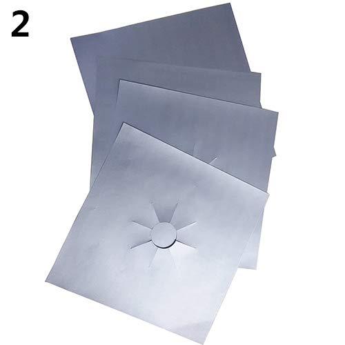Dyyicun12 Gas Bescherming Pad Kookplaat Protector Liner Gemakkelijk schoon Plein Herbruikbaar 4 Stks Silver