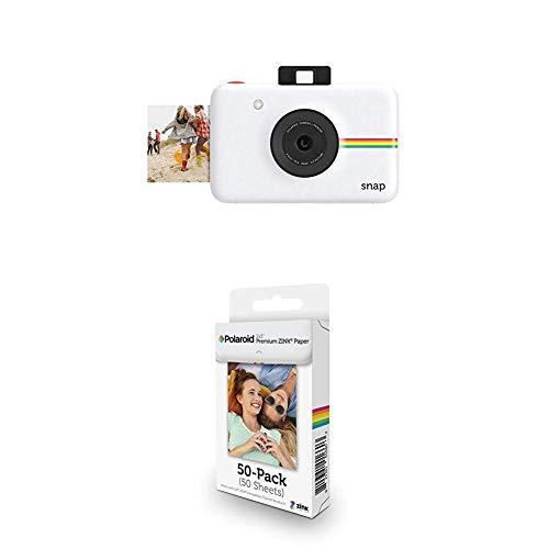 Polaroid Snap - Cámara Digital instantánea, Blanco + Paquete de 50 Hojas