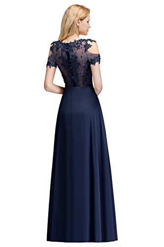 MisShow Damen Abendkleider elegant für Hochzeit Off Shoulder Ballkleider Navyblau 40