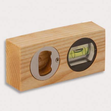 HOFMEISTER - Mini nivel de burbuja con abridor de botellas, 10 cm, para imágenes, muebles y suelos, báscula con libélula, 100% fabricada en Alemania, de madera de fresno engrasada