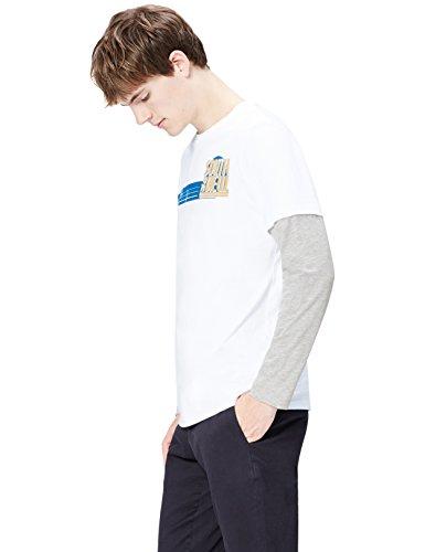 Marca Amazon - find. Camiseta de Manga Larga con Estampado para Hombre, Blanco (White 003), XL, Label: XL