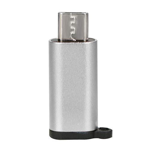 Zinniaya Mini Adaptador de Aluminio portátil USB-C a Micro USB con Llavero Anti-perdida USB Tipo-C a Micro USB Convert Connector