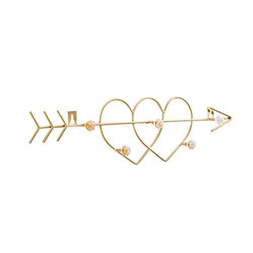 TOPBATHY Mulitifunction Gancho de pared de metal de hierro multifuncional montado en la pared con una flecha a través de dos corazones organizador de collar y pulsera (dorado)