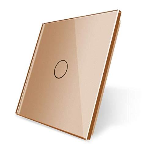 LIVOLO Glas Touch Lichtschalter Funkschalter Steckdosen Wechselschalter uvm in gold (Rahmen: VL-C7-C1-13)
