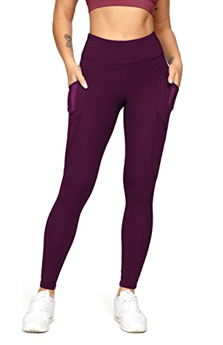 QUEENIEKE Polainas de Yoga para Mujeres Mesh de Cintura Alta con 3 Bolsillos de Teléfonos para Correr Color Deep Rose Red Talla XS