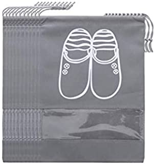 SKEIDO 10pcs/Set Waterproof Travel Shoes Storage Bag Drawstring Organizer PVC transparent splicing home Shose Cloth storag...