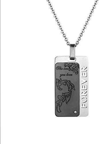 NC110 Collar con Colgante de Acero de Titanio Pareja Hombres y Mujeres Combinación de Letras de Diamantes Caja de Regalo de Gama Alta Regalo de joyería-Negro YUAHJIGE
