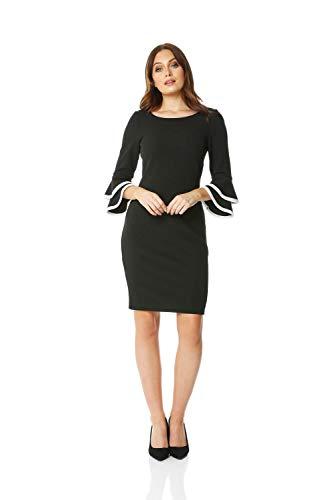 Roman Originals Damen Shift-Kleid mit Manschettenvolants in Schwarz 38-48 - Schwarz - Größe 44