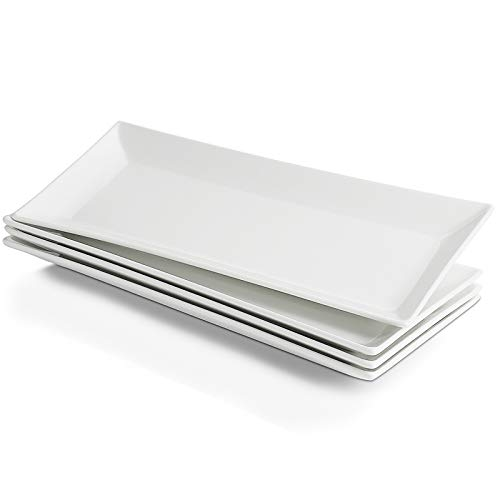Sweese 704.101 14 Inch White Rectangular Plates, Serving Platters for Party, Dessert and Appetizers, Porcelain Serving Plates - Set of 4