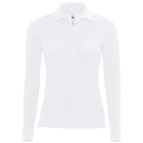 B&C - Polo Manica Lunga 100% Cotone - Donna (XS) (Bianco)