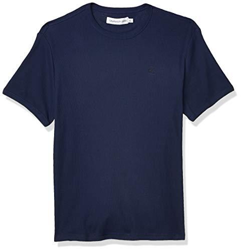 Calvin Klein Men's Short Sleeve Casual Monogram Waffle Crew Neck Shirt, Peacoat, X-Large