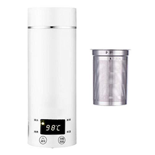PIANYIHUO HervidorHervidor eléctrico portátil Miini Caldera de calefacción térmica de agua Tetera de acero inoxidable de viaje Taza para hervir leche de café 110 V 220 V, blanco