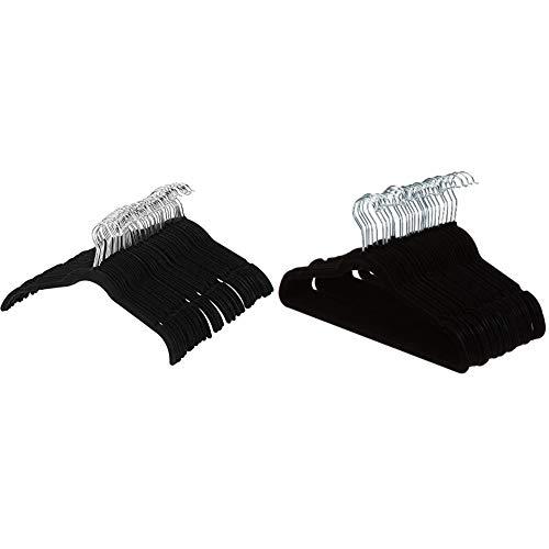 Amazon Basics Kleiderbügel für Hemd / Kleid, mit Samt überzogen, 50er-Pack, Schwarz & Kleiderbügel für Anzug / Kostüm, mit Samt überzogen, 30er-Pack, Schwarz