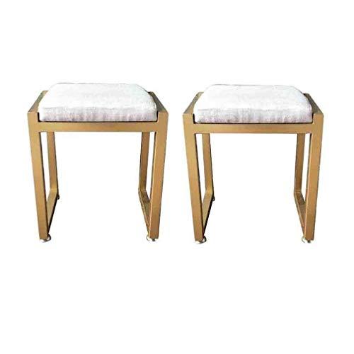 LJ Stuhl Eitelkeit Schminktisch Hocker Gold-fertiger Metallrahmen Stuhl mit niedriger Rückenlehne und Stoffpolsterung, Schlafzimmermöbel, 2er-Pack,40 × 30 × 45 cm,40 × 30 × 45 cm