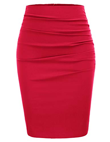 Women's Knee Length Pencil Skirts Slim Fit Business Skirt Size L,Red