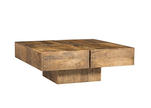 Woodkings® Couchtisch Amberley 80x80cm Holz Mango Natural Rustic, Echtholz modern, Design, Massivholz exklusiv, Lounge Coffee Table günstig