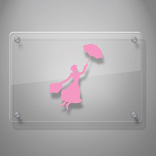 "Yoonek Graphics Mary Poppins Decal Sticker for Car Window, Laptop, Motorcycle, Walls, Mirror and More. SKU: 497 (4"" Height, Light Pink)"