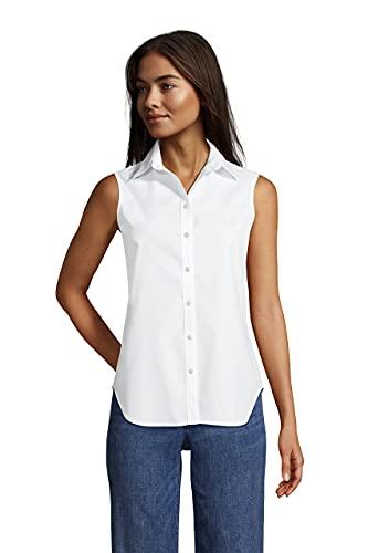 Lands' End Womens No Iron Supima Cotton Sleeveless Shirt White Petite 18