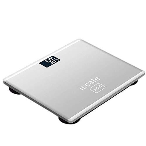 Personenweegschaal Digitale weegschaal Gewichtsanalysator Ultradun gehard glas Batterij Weegschaal in de badkamer met LCD digitaal display,White