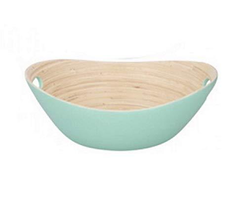 Bamboo Salad Bowl Large Fruit Bowl Bamboo Wooden Oval Salad Serving Bowl Bamboo Wood Bread Snack Bowl Serving Mixing Dish Bowl Tableware, Oval, Matte Finish (Green)