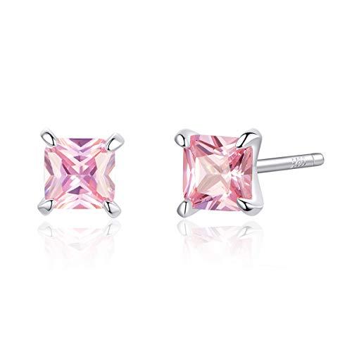 Roze Prinses Zirkonia Oorbellen voor Vrouwen Anti-allergie 925 Sterling Zilver Bruiloft Verklaring Sieraden