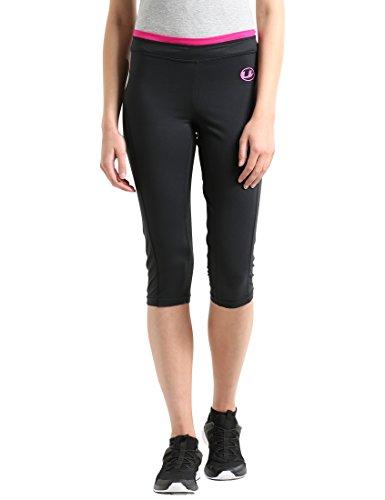 Ultrasport Damen 3/4 Fitnesshose Capri, schwarz (black/pink), XL