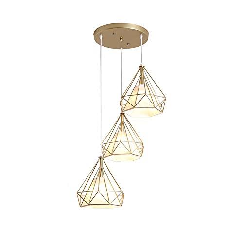 LIUDADA Lámpara colgante de 3 focos, vintage, lámpara colgante retro, de hierro, lámpara de techo, casquillo E27, para comedor, salón, dormitorio, 28 × 28 cm