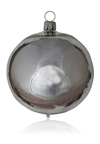 Kugeln silber glanz 4 Stück d 10cm Christbaumschmuck Weihnachtsbaumschmuck mundgeblasen Lauschaer Glas das Original
