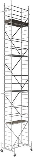 Altec Rollfix 1000, Arbeitshöhe 10 M Neu, Inkl. Höhenverstellbarer Rollen (Ø 150 Mm), Traverse Und Wandanker, Alu Gerüst Aus Aluminium Rollgerüst