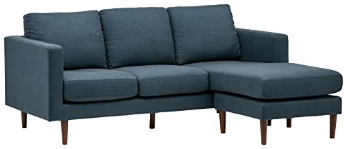 Rivet Revolve Modern Upholstered Sofa with Reversible Sectional Chaise, 80'W, Denim