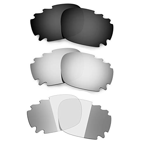 HKUCO Black/Titanium/Transition/Photochromic Polarized Replacement Lenses For Oakley Racing Jacket Vented Sunglasses