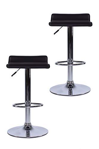 dibea BC00875 - Juego de taburetes de Bar (2 Unidades, Piel sintetica y Cromo, Giratorio 360°), Color Negro