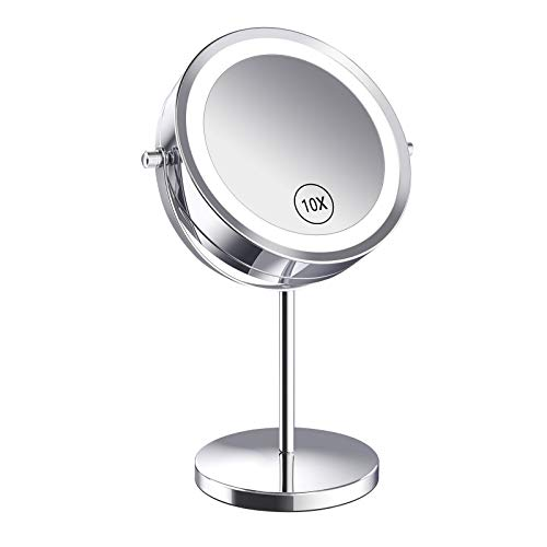 Amazon.com : Benbilry Lighted Makeup Mirror, 7 Inch Magnifying LED Vanity Mirror with 1X/10X Magnification Double Sided, Battery Operated 360 Degree Rotation Cosmetic Mirror Light Up Mirror for Bathro...