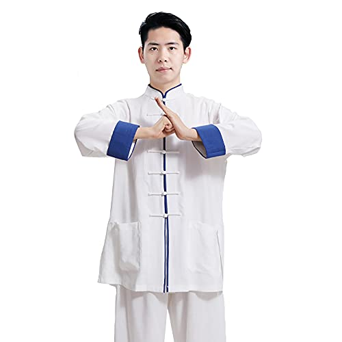 Tai Chi Kleidung Damen - Herren Kung Fu Kampfsportbekleidung Leinen Baumwolle Langarm Frühling Sommer Morgen Sportswear Übergröße,Blue-XLarge