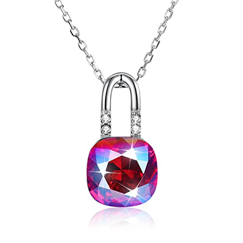 Yandm Multicolor Blue Crystal Lock Pendant Sterling Silver Necklace for Women Girls Gift Color-A
