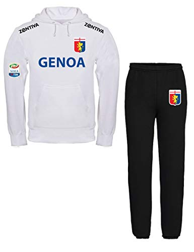 Nerd Generations Felpa con Cappuccio Sportiva Calcio Serie A Genoa Felpa Bianca Pantalone Nero (XL)