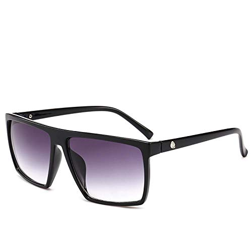 HAOMAO Gafas de Sol extragrandes cuadradas de conducción con Revestimiento de Espejo y Calavera para Hombre, Parte Superior Plana, Gris Degradado