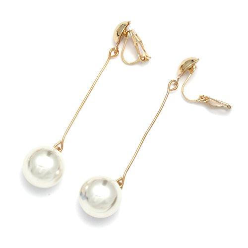 Idin Jewellery, orecchini pendenti a clip con catenina dorata e finta perla bianca