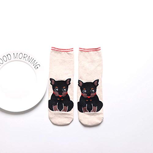 Calcetines De Algodón De Animales Bonitos A La Moda para Mujer, Calcetines Cortos De Verano Kawaii, Zapatillas para Mujer, Calcetines Casuales Suaves Y Divertidos para Barco, 360
