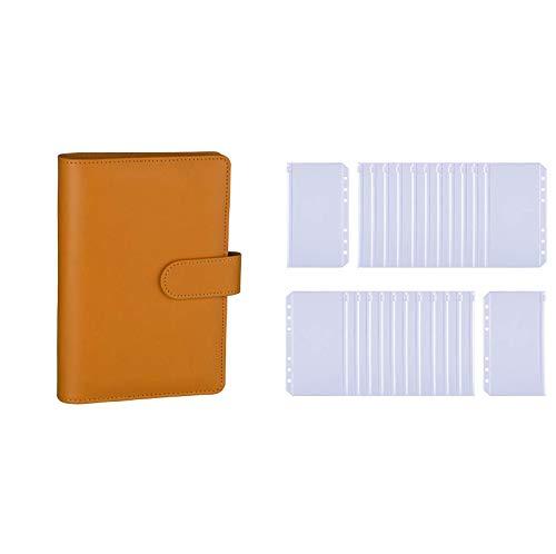 Antner A6 PU Leather Notebook Binder (Dark Yellow) Bundle   24 Pieces A6 Binder Pockets