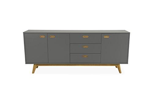 Tenzo Bess Sideboard 3 Türen, 3 Schubladen, Korpus : Spanplatte lackiert, matt. Untergestell und Griffe Eiche massiv, geölt, Grau/Eiche, One size