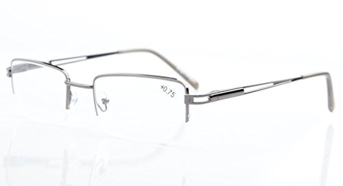 Eyekepper Rechteck Metall Halbrand Federscharnier Computer-Brillen Lesebrillen Gunmetal +0.5