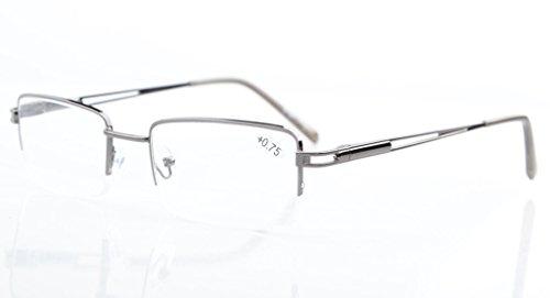 Eyekepper Rechteck Metall Halbrand Federscharnier Computer-Brillen Lesebrillen Gunmetal +1.75
