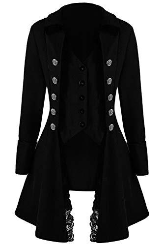 Huiyemy Damen Steampunk Barock Mantel, Gothic viktorianische Jacke Damen Frack viktorianisch Kostüm L