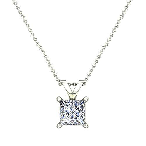 Princess Cut Diamond Pendant Necklace for women 14K White Gold Chain 0.42 ct (G, I1)